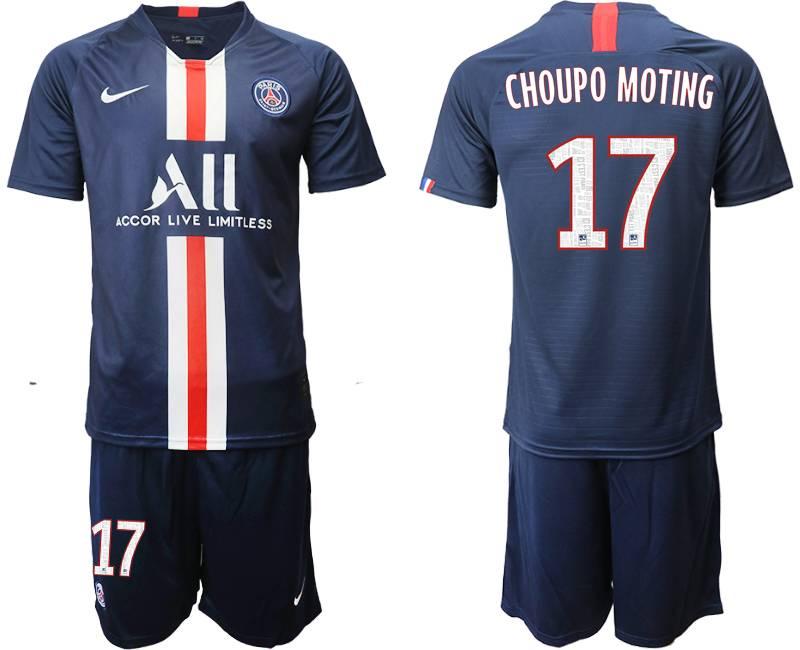 Mens 19-20 Soccer Paris Saint Germain #17 Choupo Moting Dark Blue Home Short Sleeve Suit Jersey