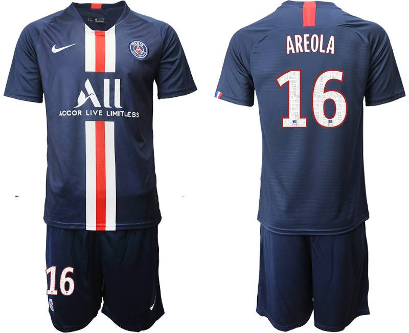 Mens 19-20 Soccer Paris Saint Germain #16 Areola Dark Blue Home Short Sleeve Suit Jersey