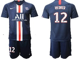 Mens 19-20 Soccer Paris Saint Germain #12 Meunier Dark Blue Home Short Sleeve Suit Jersey