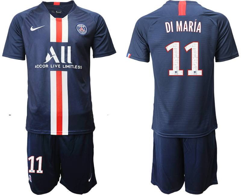 Mens 19-20 Soccer Paris Saint Germain #11 Di Maria Dark Blue Home Short Sleeve Suit Jersey