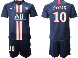 Mens 19-20 Soccer Paris Saint Germain #10 Neymar Jr Dark Blue Home Short Sleeve Suit Jersey