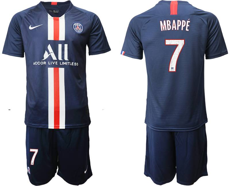 Mens 19-20 Soccer Paris Saint Germain #7 Mbappe Dark Blue Home Short Sleeve Suit Jersey
