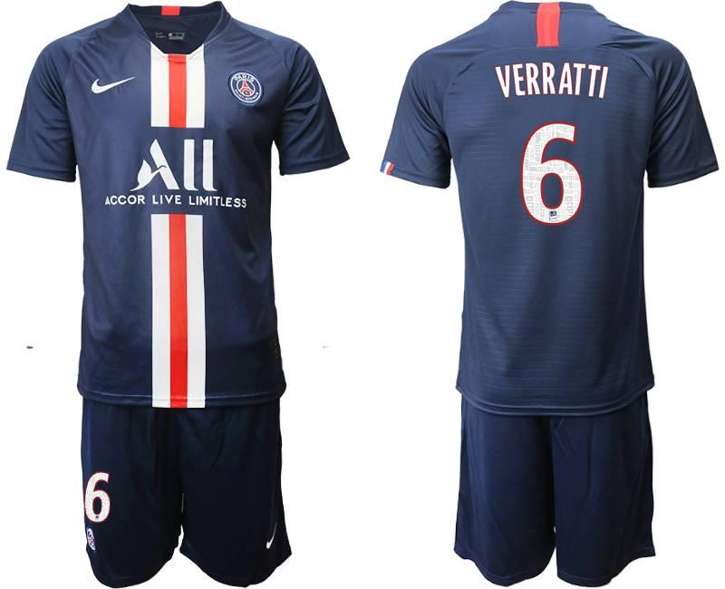 Mens 19-20 Soccer Paris Saint Germain #6 Verratti Dark Blue Home Short Sleeve Suit Jersey