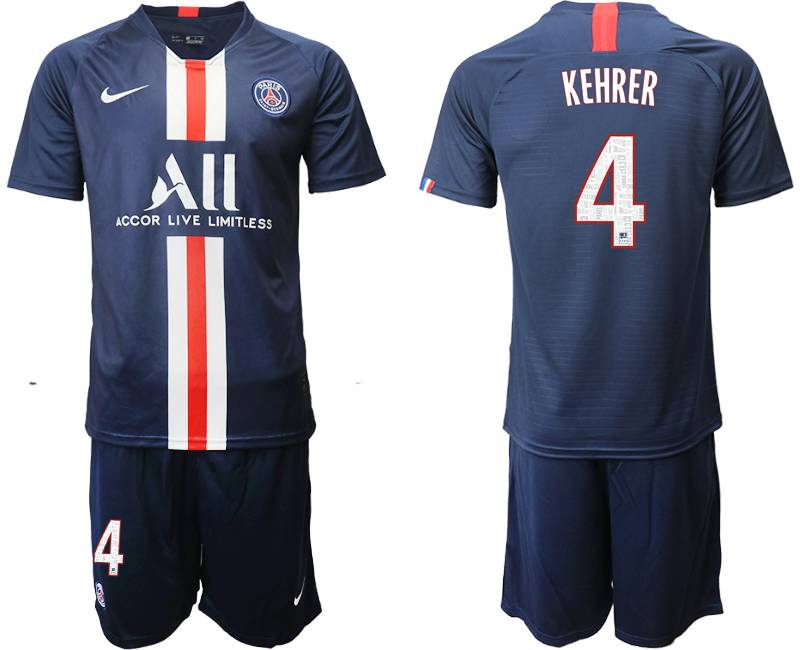 Mens 19-20 Soccer Paris Saint Germain #4 Kehrer Dark Blue Home Short Sleeve Suit Jersey