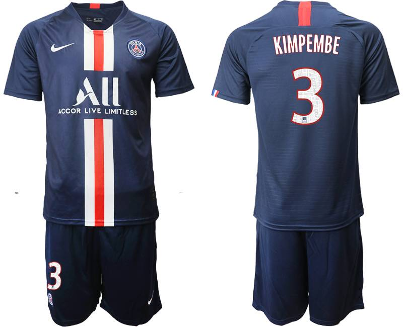 Mens 19-20 Soccer Paris Saint Germain #3 Kimpembe Dark Blue Home Short Sleeve Suit Jersey