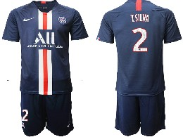Mens 19-20 Soccer Paris Saint Germain #2 T.silva Dark Blue Home Short Sleeve Suit Jersey