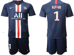 Mens 19-20 Soccer Paris Saint Germain #1 Buffon Dark Blue Home Short Sleeve Suit Jersey
