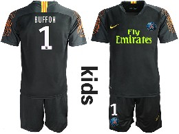Youth 19-20 Soccer Paris Saint Germain #1 Buffon Black Goalkeeper Short Sleeve Suit Jersey