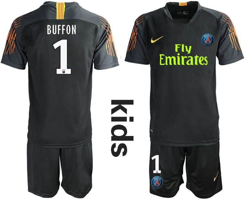 Kids 19-20 Soccer Paris Saint Germain #1 Buffon Black Goalkeeper Short Sleeve Suit Jersey