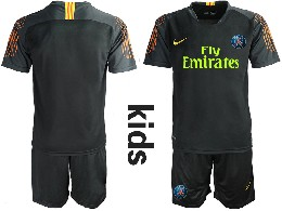 Youth 19-20 Soccer Paris Saint Germain ( Blank ) Black Goalkeeper Short Sleeve Suit Jersey