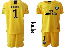 Youth 19-20 Soccer Paris Saint Germain #1 Buffon Yellow Goalkeeper Short Sleeve Suit Jersey