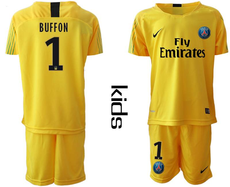 Kids 19-20 Soccer Paris Saint Germain #1 Buffon Yellow Goalkeeper Short Sleeve Suit Jersey
