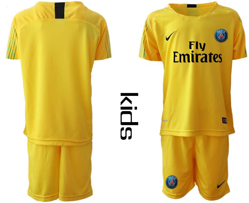 Youth 19-20 Soccer Paris Saint Germain ( Blank ) Yellow Goalkeeper Short Sleeve Suit Jersey