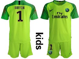 Youth 19-20 Soccer Paris Saint Germain #1 Buffon Green Goalkeeper Short Sleeve Suit Jersey