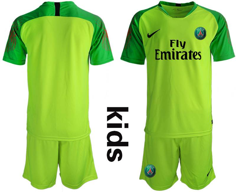 Youth 19-20 Soccer Paris Saint Germain ( Blank ) Green Goalkeeper Short Sleeve Suit Jersey