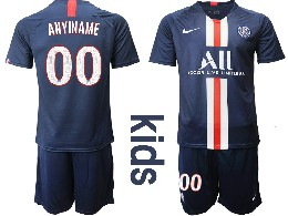 Youth 19-20 Soccer Paris Saint Germain ( Custom Made ) Dark Blue Home Short Sleeve Suit Jersey