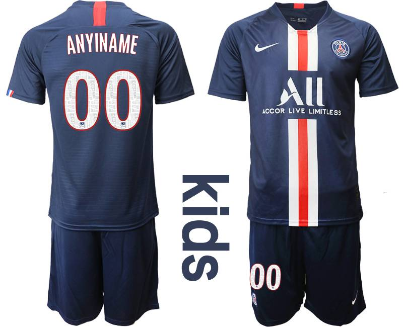 Youth 19-20 Soccer Paris Saint Germain ( Custom Made ) Dark Blue Home Short Sleeve Suit Jersey