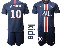 Youth 19-20 Soccer Paris Saint Germain #10 Neymar Jr Dark Blue Home Short Sleeve Suit Jersey