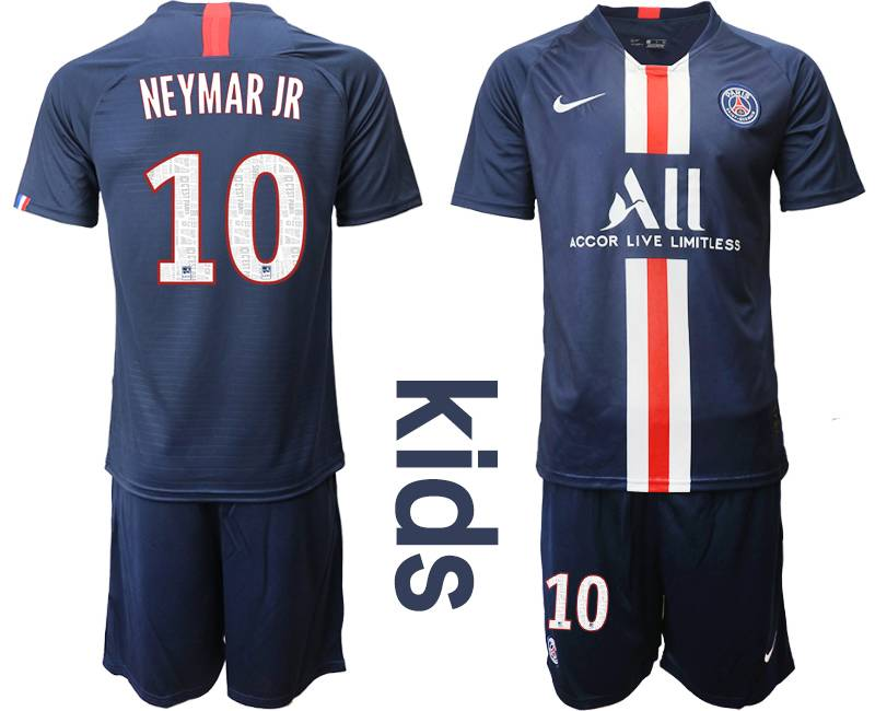 Kids 19-20 Soccer Paris Saint Germain #10 Neymar Jr Dark Blue Home Short Sleeve Suit Jersey