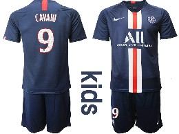 Youth 19-20 Soccer Paris Saint Germain #9 Cavani Dark Blue Home Short Sleeve Suit Jersey