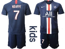 Youth 19-20 Soccer Paris Saint Germain #7 Mbappe Dark Blue Home Short Sleeve Suit Jersey
