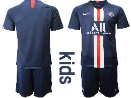 Youth 19-20 Soccer Paris Saint Germain ( Blank ) Dark Blue Home Short Sleeve Suit Jersey