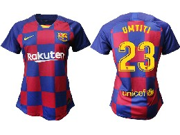 Women 19-20 Soccer Barcelona Club #23 Umtiti Red And Blue Stripe Home Thailand Jersey