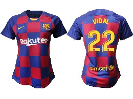 Women 19-20 Soccer Barcelona Club #22 Vidal Red And Blue Stripe Home Thailand Jersey