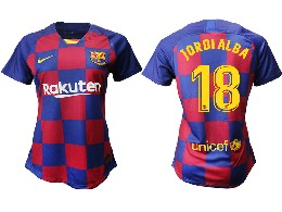Women 19-20 Soccer Barcelona Club #18 Jordialba Red And Blue Stripe Home Thailand Jersey