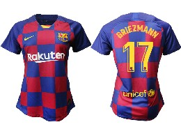 Women 19-20 Soccer Barcelona Club #17 Griezmann Red And Blue Stripe Home Thailand Jersey