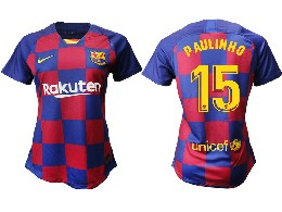 Women 19-20 Soccer Barcelona Club #15 Paulinho Red And Blue Stripe Home Thailand Jersey