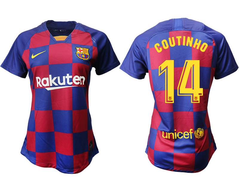 Women 19-20 Soccer Barcelona Club #14 Coutinho Red And Blue Stripe Home Thailand Jersey
