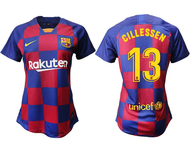 Women 19-20 Soccer Barcelona Club #13 Gillessen Red And Blue Stripe Home Thailand Jersey