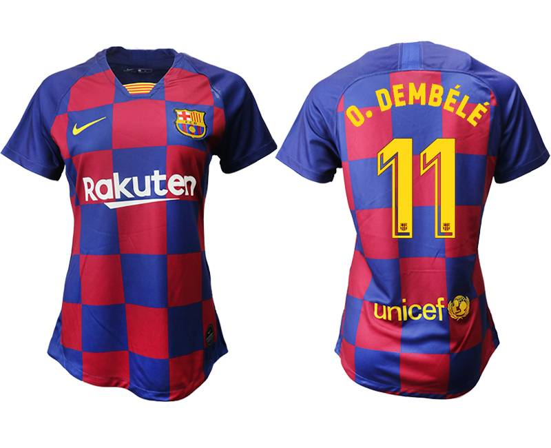 Women 19-20 Soccer Barcelona Club #11 O. Dembele Red And Blue Stripe Home Thailand Jersey
