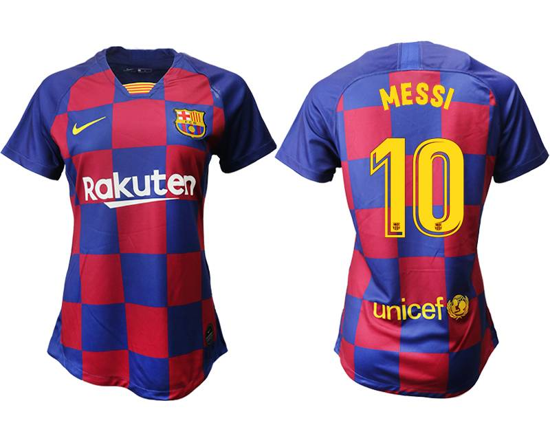Women 19-20 Soccer Barcelona Club #10 Messi Red And Blue Stripe Home Thailand Jersey