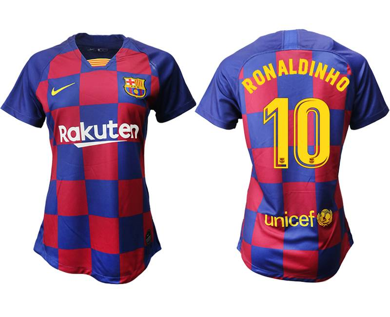 Women 19-20 Soccer Barcelona Club #10 Ronaldinho Red And Blue Stripe Home Thailand Jersey