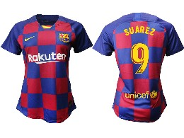 Women 19-20 Soccer Barcelona Club #9 Suarez Red And Blue Stripe Home Thailand Jersey