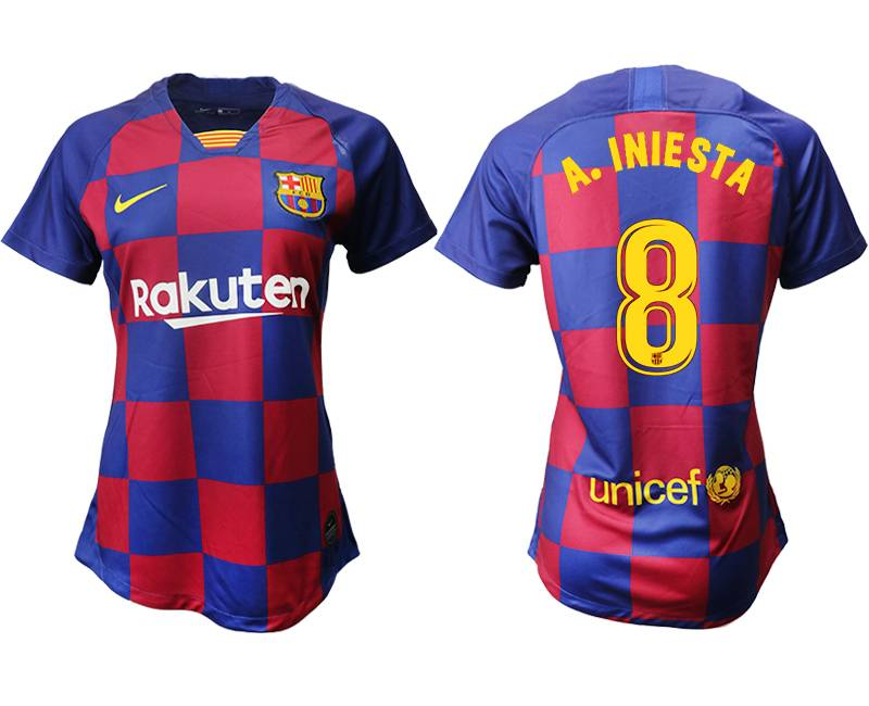 Women 19-20 Soccer Barcelona Club #8 A. Iniesta Red And Blue Stripe Home Thailand Jersey