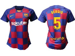 Women 19-20 Soccer Barcelona Club #5 Sergio Red And Blue Stripe Home Thailand Jersey