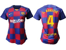 Women 19-20 Soccer Barcelona Club #4 I. Rakitic Red And Blue Stripe Home Thailand Jersey