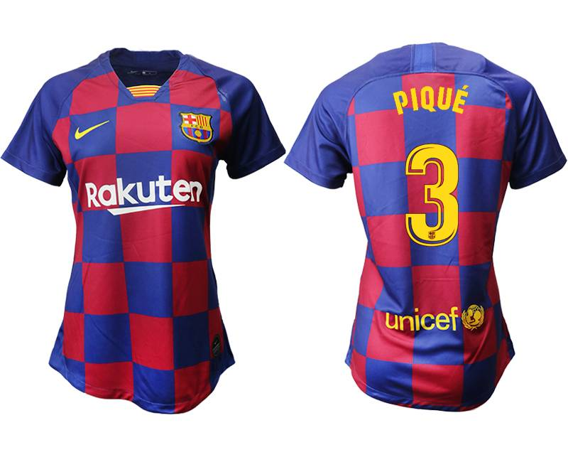 Women 19-20 Soccer Barcelona Club #3 Pique Red And Blue Stripe Home Thailand Jersey