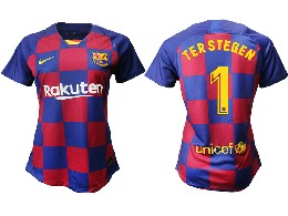 Women 19-20 Soccer Barcelona Club #1 Terstegen Red And Blue Stripe Home Thailand Jersey