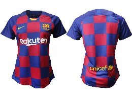 Women 19-20 Soccer Barcelona Club ( Blank ) Red And Blue Stripe Home Thailand Jersey