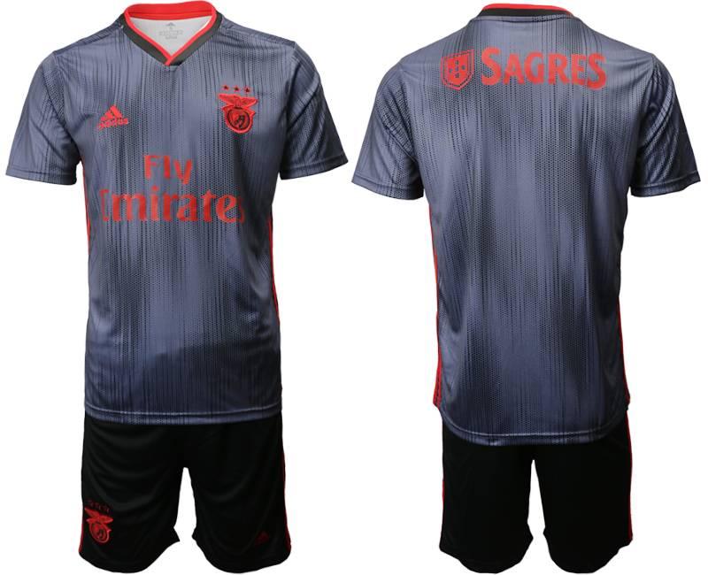 Mens 19-20 Soccer Sl Benfica ( Custom Made ) Navy Blue Away Short Sleeve Suit Jersey