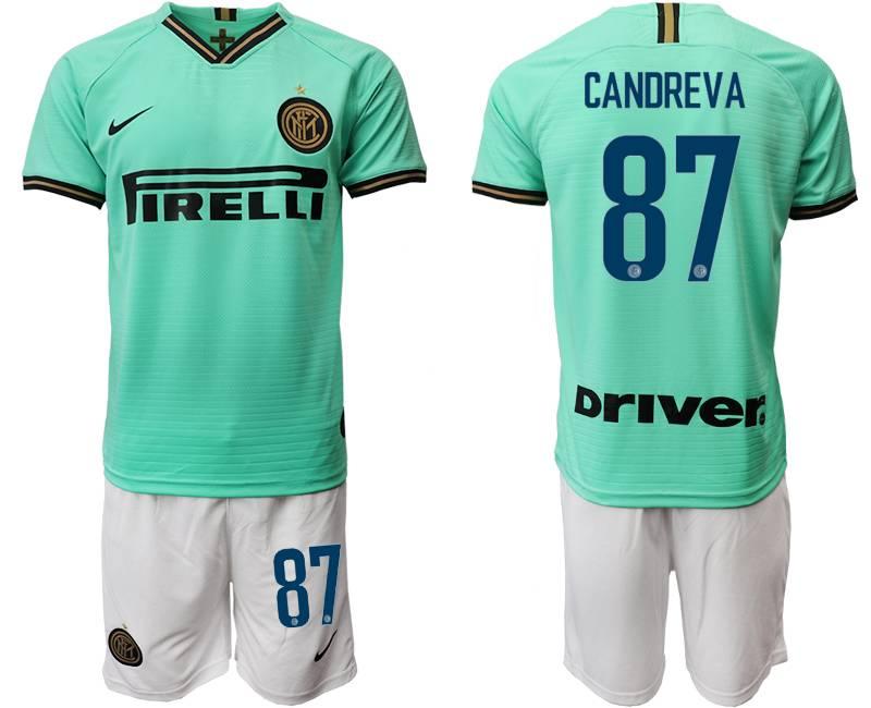 Mens 19-20 Soccer Inter Milan Club #87 Candreva Green Away Short Sleeve Suit Jersey