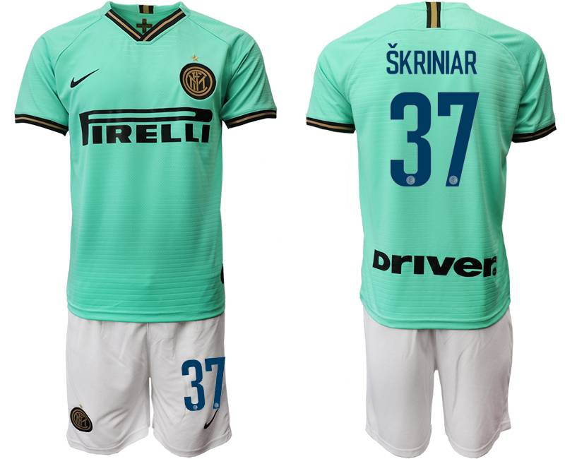 Mens 19-20 Soccer Inter Milan Club #37 Skriniar Green Away Short Sleeve Suit Jersey