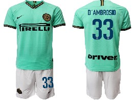 Mens 19-20 Soccer Inter Milan Club #33 D'ambrosio Green Away Short Sleeve Suit Jersey