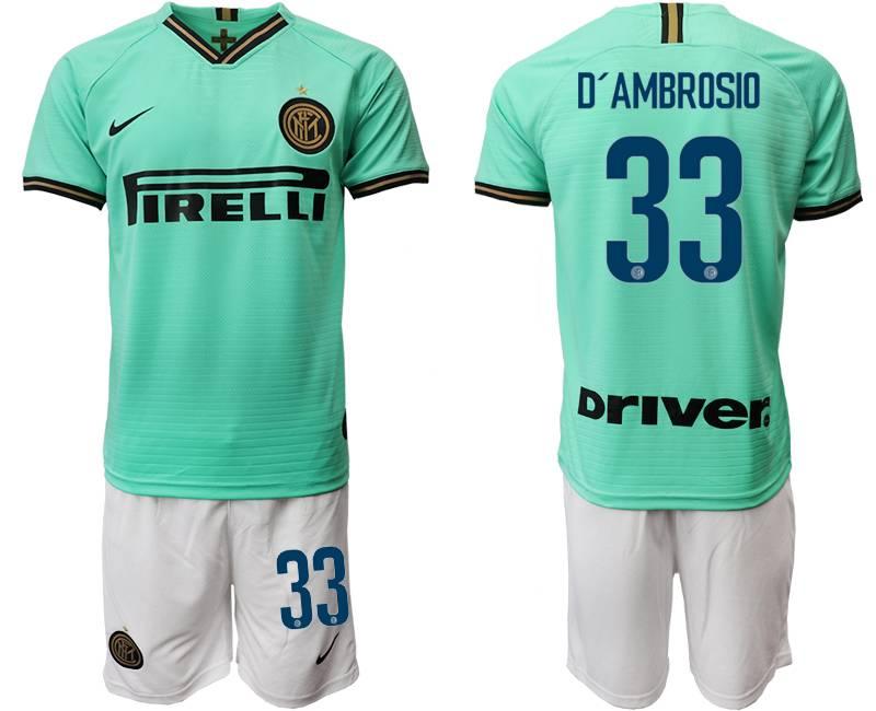 Mens 19-20 Soccer Inter Milan Club #33 D'ambrosio Green Away Short Sleeve Suit Jersey