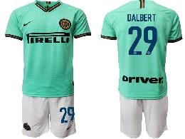 Mens 19-20 Soccer Inter Milan Club #29 Dalbert Green Away Short Sleeve Suit Jersey