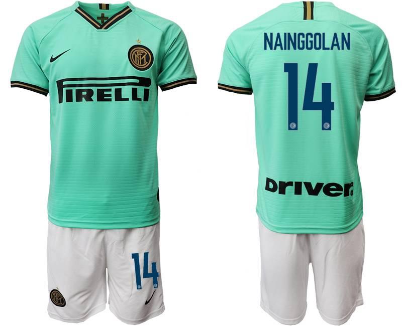Mens 19-20 Soccer Inter Milan Club #14 Nainggolan Green Away Short Sleeve Suit Jersey